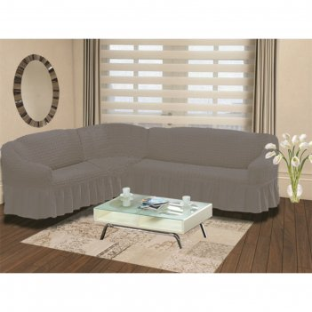 Чехол на угловой диван левосторонний bulsan 2+3, серый