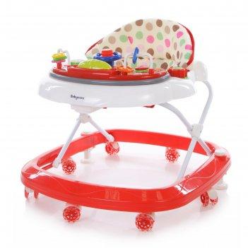 Ходунки детские baby care  sonic, цвет бело-красный