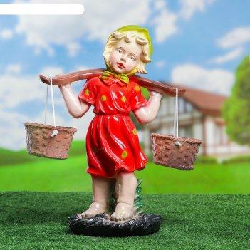 Садовая фигура девочка с коромыслом цветная 27х47х21см микс
