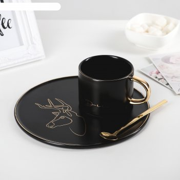 Чайная пара силуэт: кружка 280 мл, тарелка 19,6 см, ложка, рисунок микс