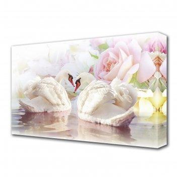 Картина на холсте лебеди и розы