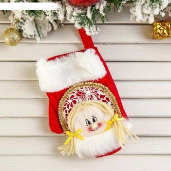 Варежка для подарка снегурочка (красная, пушистая)