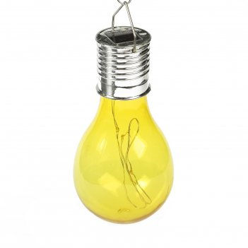 Фонарь садовый на солнечной батарее лампочка желтая, 4 led, пластик, на