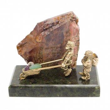 Сувенир старатели бронза змеевик яшма 100х50х70 мм