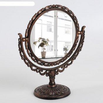 Зеркало наст пласт нож круг (2) ажур d12,5/18,2*22см увел чёрн мед к/кор