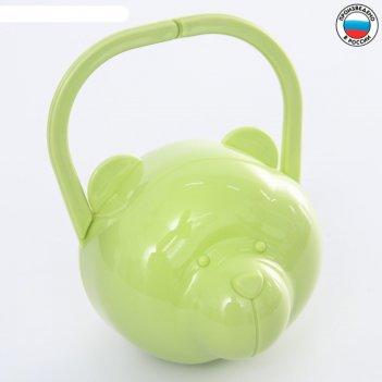 Футляр для детской пустышки мишка, цвет салатовый