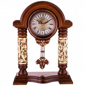Часы настольные кварцевые с маятником цвет: коричневый с золотом 27*12,5*3