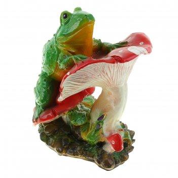 Садовая фигура лягушка на мухоморе №3