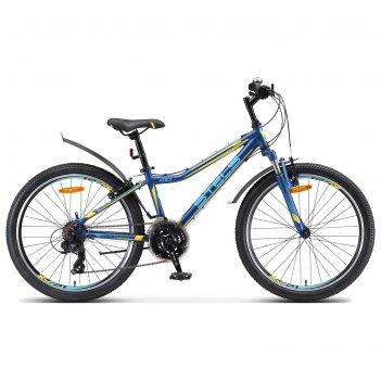 Велосипед 24 stels navigator-410 v, v010, цвет темно синий/желтый, размер
