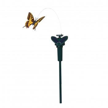 Декор садовый на солнечной/пальчиковой батарее 38см порхающая бабочка микс