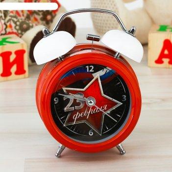 Часы будильник 23 февраля, d=8 см