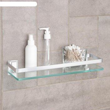 Полка для ванной комнаты, алюминий, стекло 40х12х6 см