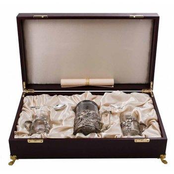 Набор для чая с френч-прессом шиповник (5 пр.) латунь, с посеребрением