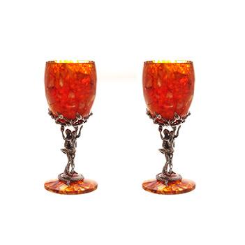 Бокал для вина искушение из янтаря в наборе на 2 персон (юв. бронза)