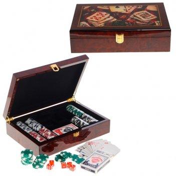 Шкатулка с игральным набором ( карты, 100 фишек, кости), l 3...