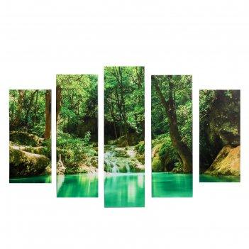 Модульная картина водопад в лесу (2-23х52; 2-24х70; 1-24х80) 120х80см