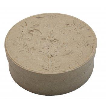 Коробочка круглая из папье-маше с тиснением на крышке, 12 х 3,8 см