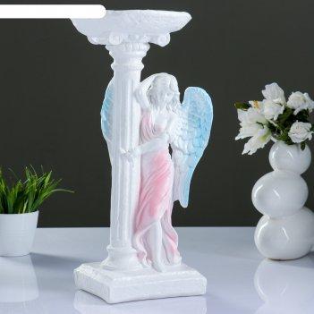 Фигура ангел девушка у колонны цветной 18х21х43 см,