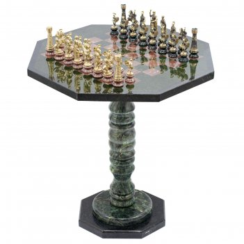 Шахматный стол фигуры римские на подставках бронза креноид змеевик