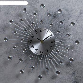 Часы настенные, серия: ажур, кристалы d=35 см