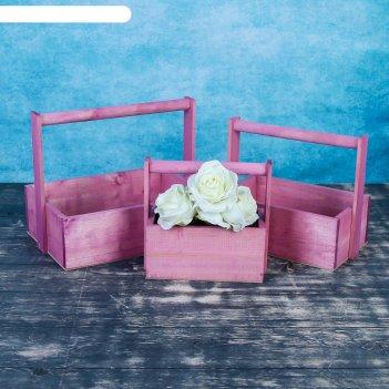 Набор кашпо классика 3 в 1, из массива сосны, розовый