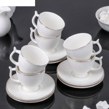 Сервиз кофейный килиана, 12 предметов: 6 чашек 90 мл, 6 блюдец 11 см
