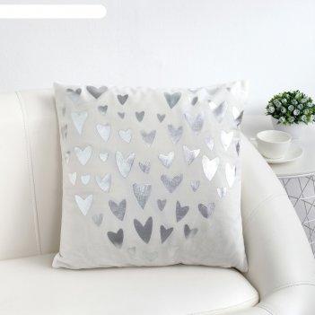 Наволочка декоративная этель сердечки, 43*43 см, 100% п/э