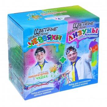 Набор для опытов цветные червяки и лизуны юный химик