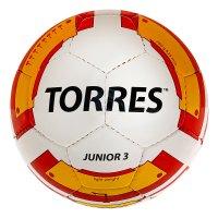 Мяч футбольный torres junior-3 р.3, пу, бело-красно-желтый