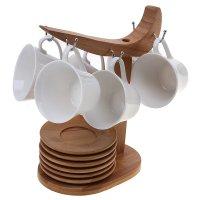 Сервиз кофейный эстет, 12 предметов на подставке: 6 чашек, 6 блюдец