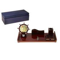 Набор настольный 6в1: часы, глобус, подставка под визитки, стакан для руче