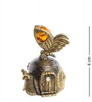 Am-647 фигурка колокольчик-улитка (латунь, янтарь)
