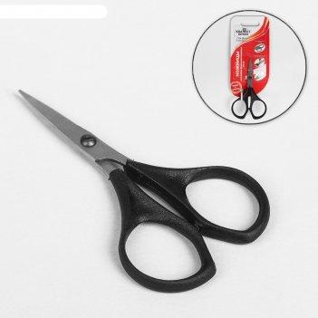 Ножницы маникюрные прямые, пластиковые ручки, цвет серебристый