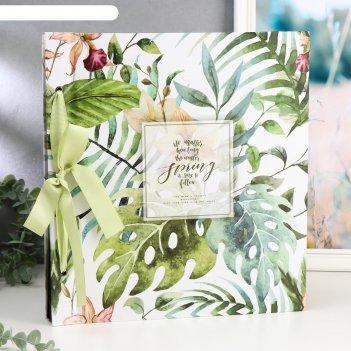 Фотоальбом на 1000 фото 10х15 см пальмовые листья в коробке 32х35,5х7 см