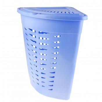 Корзина для белья угловая 45 л, голубая