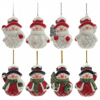 Новогоднее украшение снеговик, l4,4 w3,8 h6,2 см, 8 в.