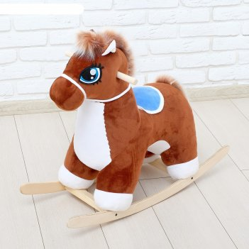 Качалка лошадка музыкальная, цвет коричневый