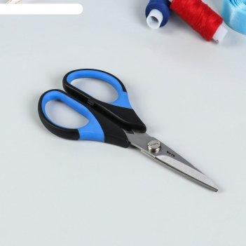 Ножницы универсальные, 14 см, цвет чёрный/голубой