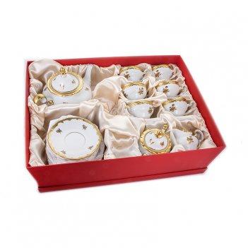 Сервиз чайный 210мл на 6перс.21пред.роза золотая подарочный 19см