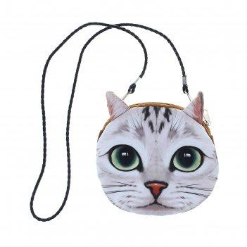 Мягкая сумочка на веревочке киса с зелеными глазами