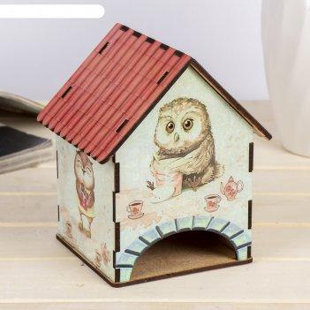 Чайный домик домик с совушками 15х10х10 см микс