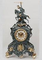 Часы из бронзы virtus всадник с маятником синий 41х25см 5747