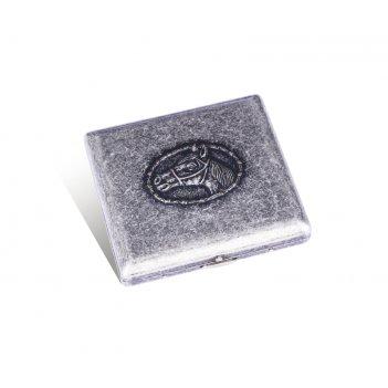 Портсигар s.quire, сталь, серебристый  цвет с рисунком,  94*71*20 мм