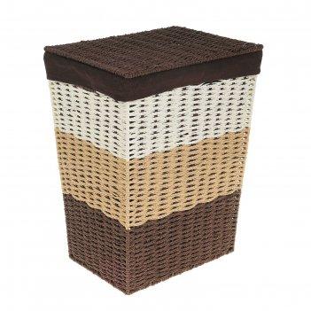 Корзина для белья, плетеная, прямоугольная кофе 32х23х44 см