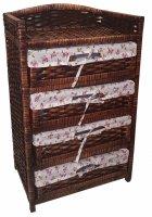 Этажерка 4-ярусная с плетеными  стеллажами