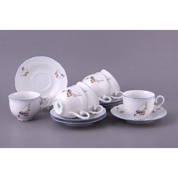 Чайный набор на 6 персон 12 пр. гуси 210 мл. высота=6,5 см.