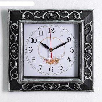 Часы настенные, серия: классика, джоржина, серебро, 30х30 см
