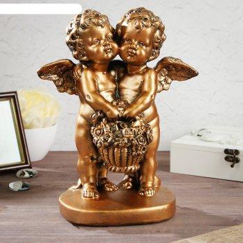 Статуэтка пара ангелов с корзиной цветов, бронзовый