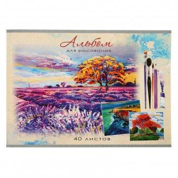 Альбом для рисования а4, 40 листов на скрепке «лавандовое поле», обложка м