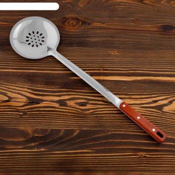 Шумовка для казана 48см, диаметр 14см, с деревянной ручкой